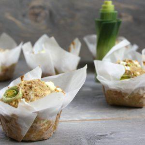 Hartige prei muffins met geitenkaas