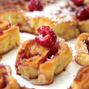 Raspberry white chocolate croissant rolls