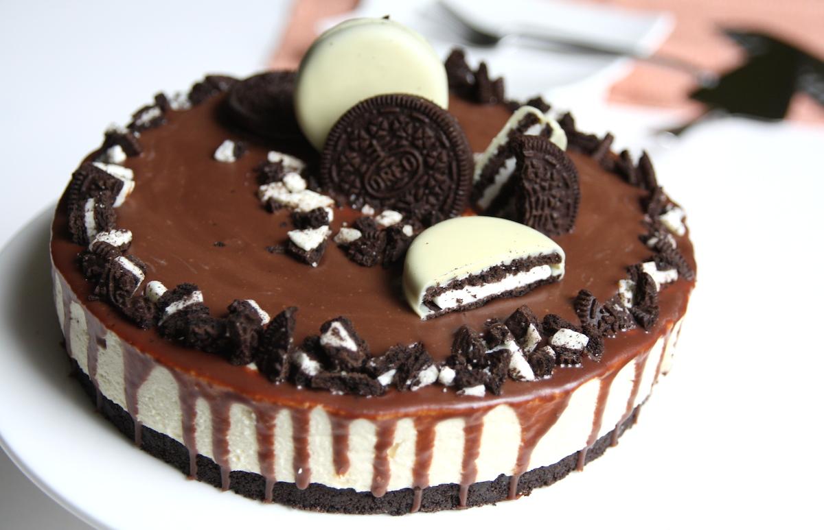 Oreo taart met witte chocolademousse