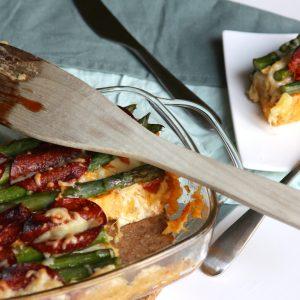 Aardappel ovenschotel met groene asperges en chorizo EEFSFOOD