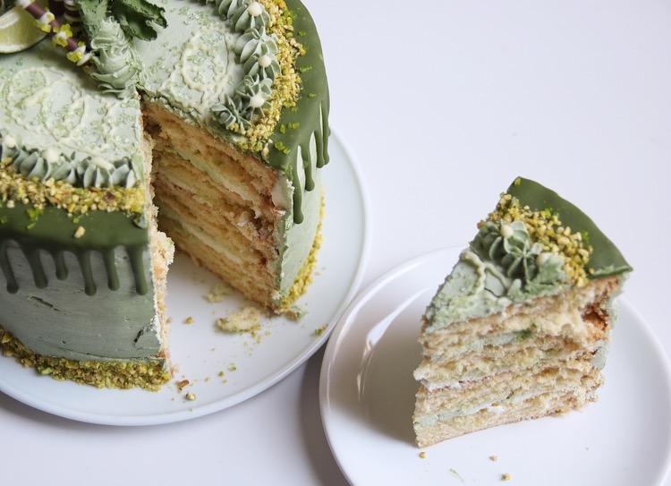 Limoen-pistache taart