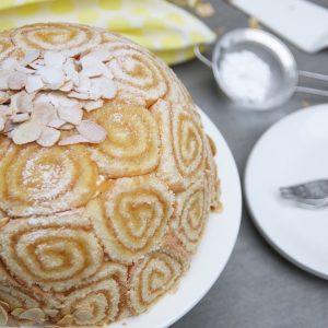 Citroen bombe met vanille, amandel en blondie bodem