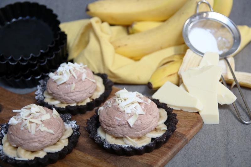 Oreo banaan taartjes met witte chocolade