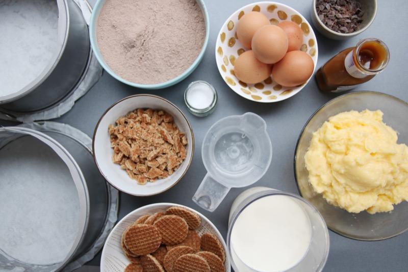 Ingrediënten stroopwafeltaart