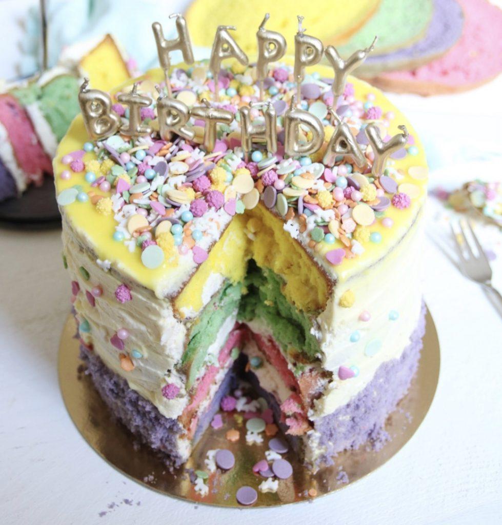 Inkijkje kleurrijke verjaardagstaart