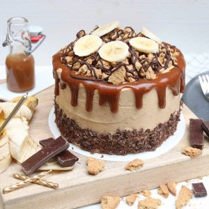 Banoffee-chocoladetaart met pindakaas botercrème