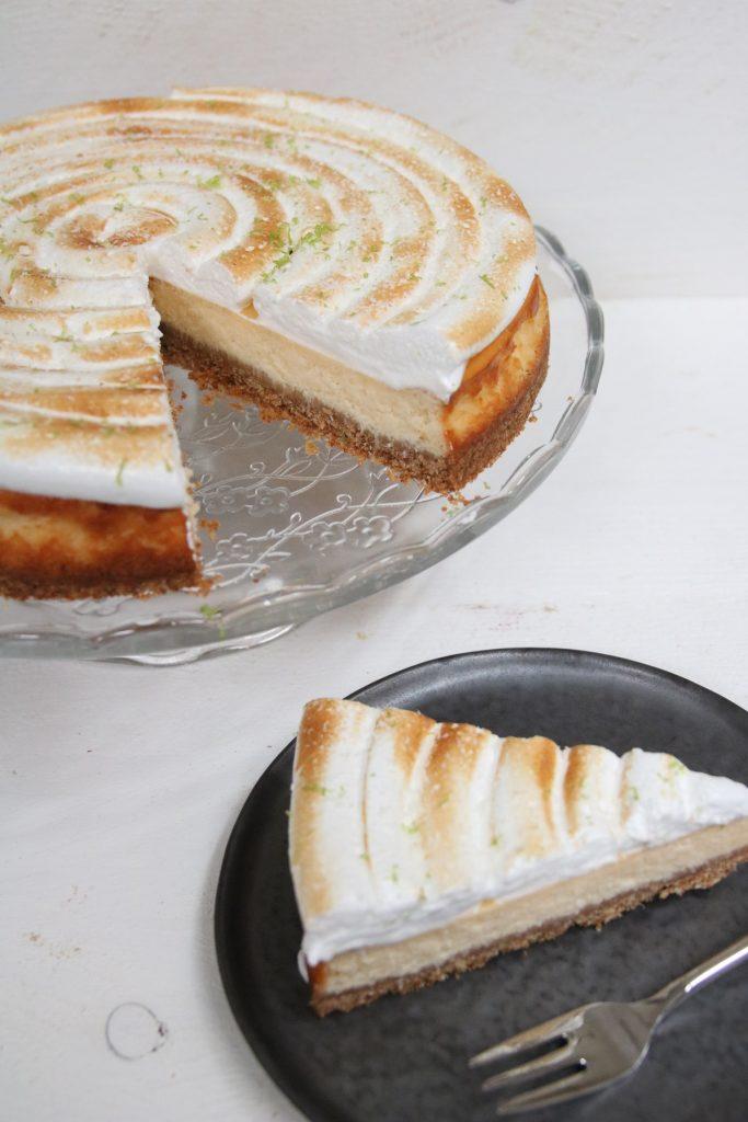 Puntje cheesecake limoen-kokos bovenaf