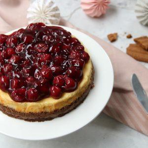 Monchoutaart cheesecake met kersen