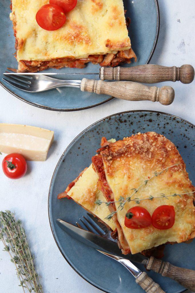 Vega lasagne bovenaf