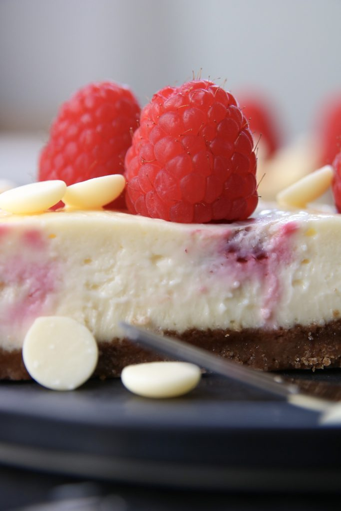 Cheesecake close up framboos