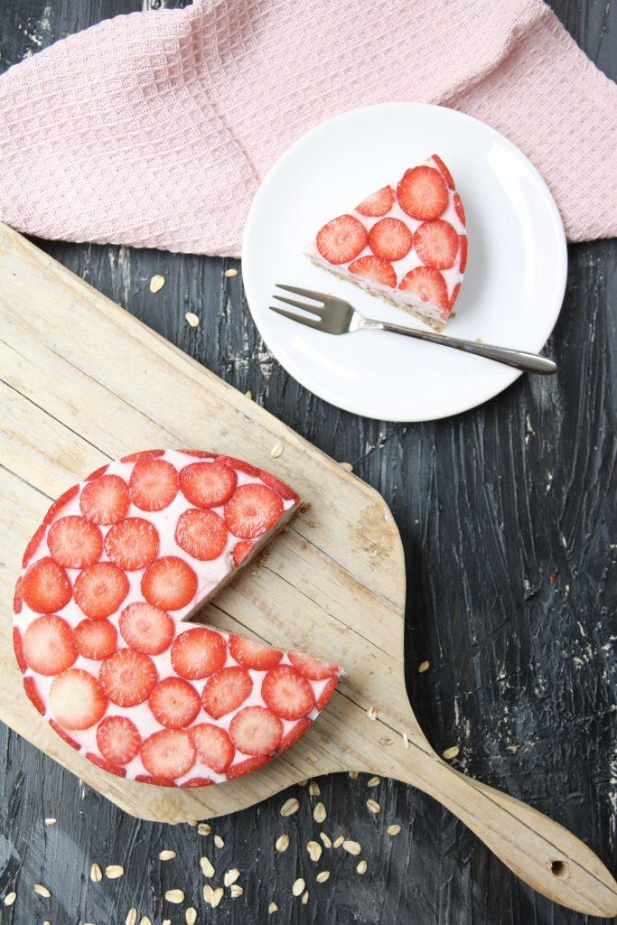 Aardbeien kwarktaartje bovenaf