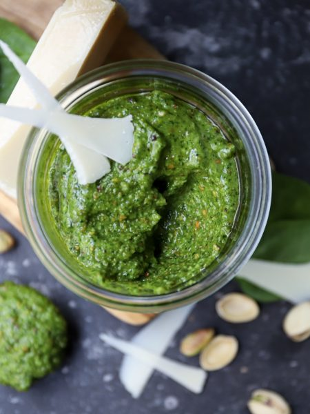 Pistache pesto met spinazie