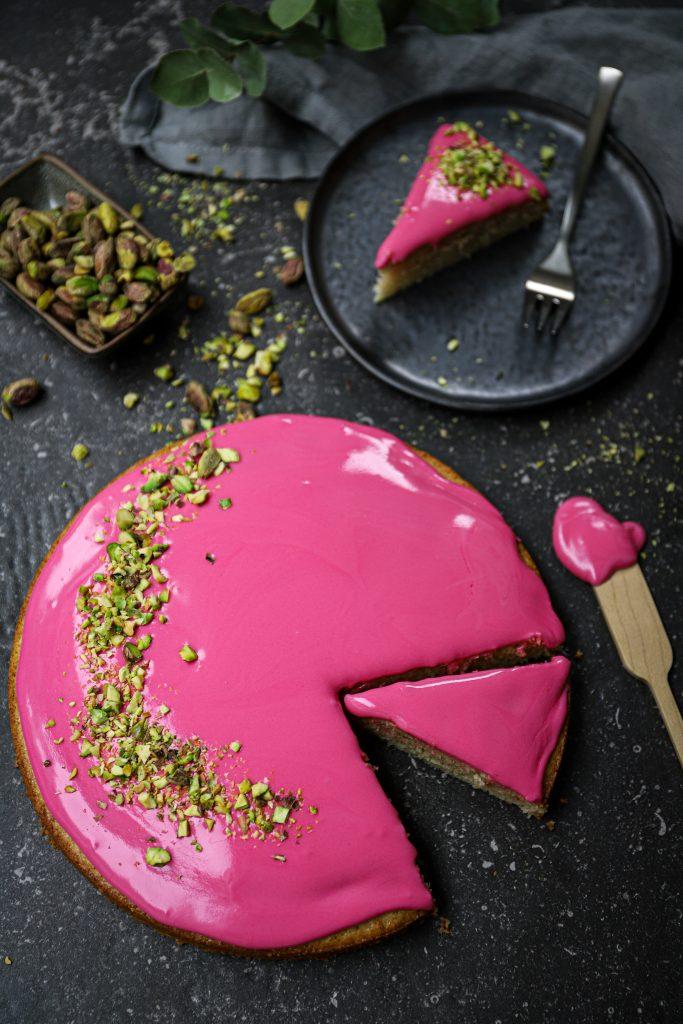 Roze koek bovenaf