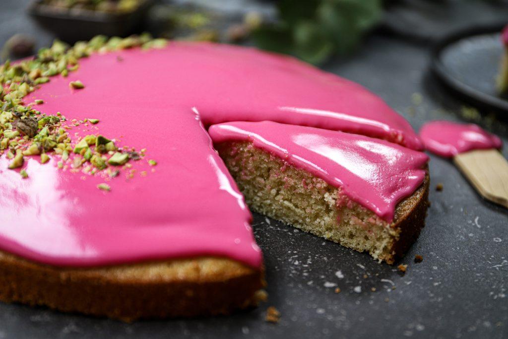 Reuze roze koek