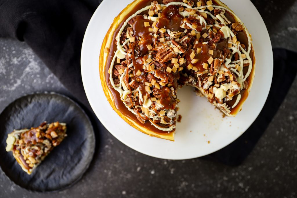 karamel cheesecake bovenaf