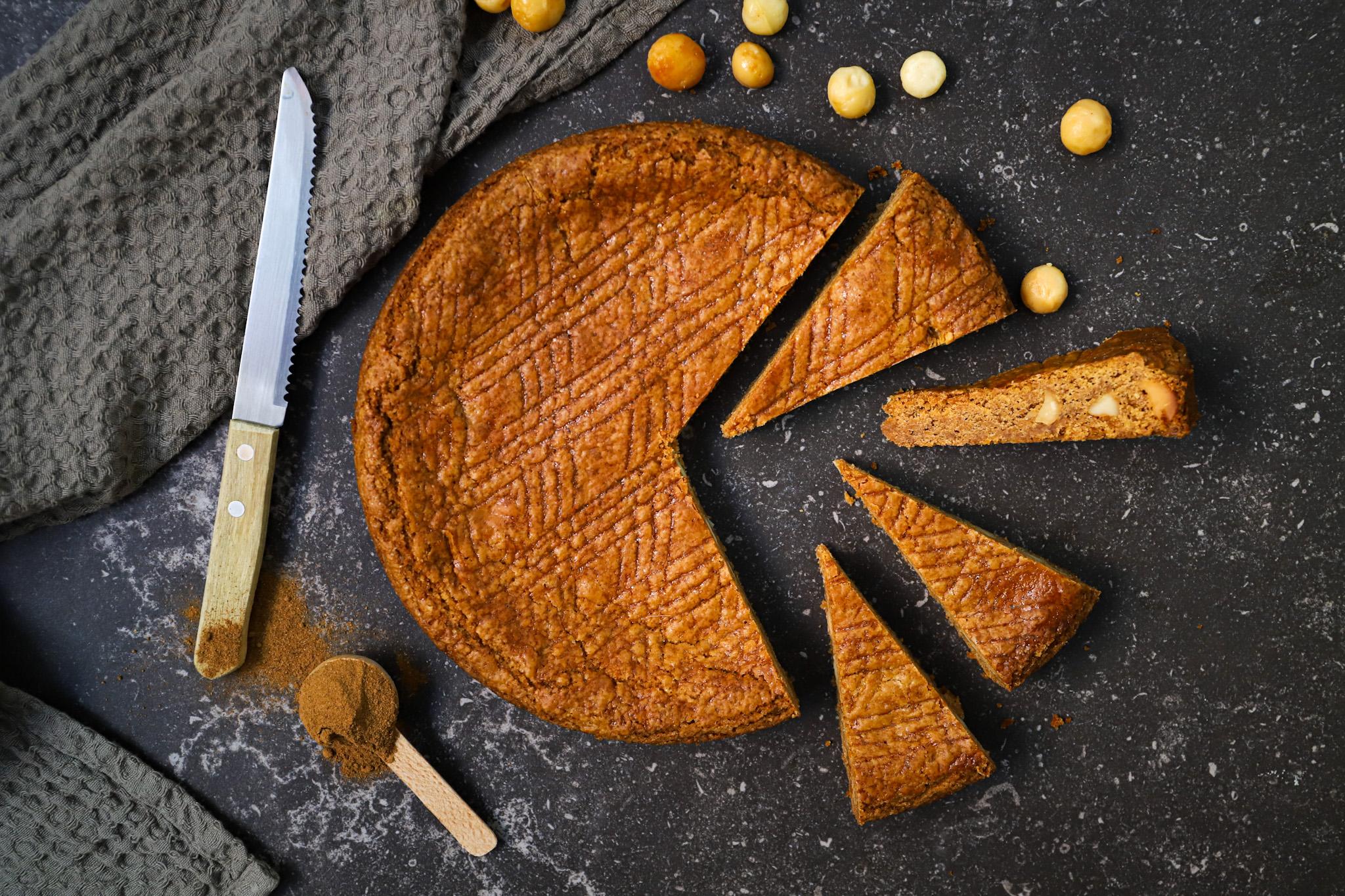 Speculaas boterkoek met macadamia noten (vegan)