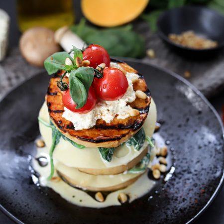 Open lasagne met pompoen, spinazie en paddestoelen