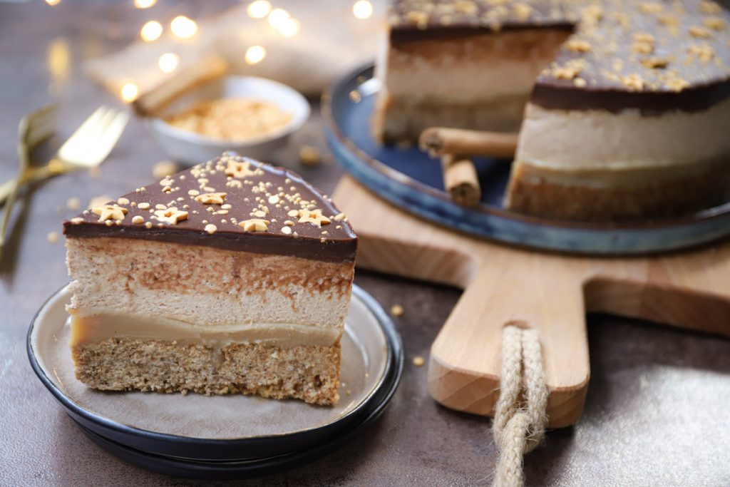Luxe speculaas shortbread taart close up