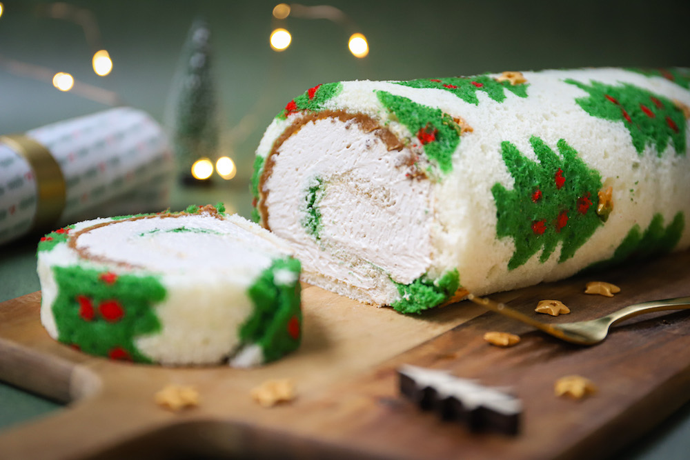 Kerstbomen cakerol met koffie en speculoos