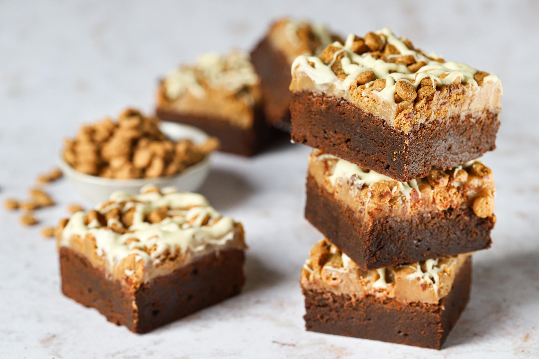 Koffie brownies met karamel en speculaas